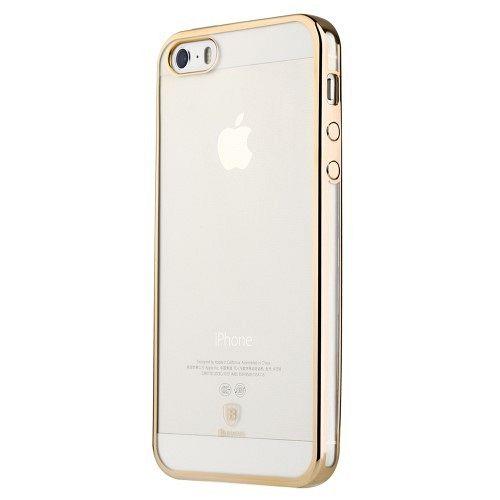 Ultra tanek TPU (prozoren / zlat) za Apple iPhone 5 / 5S / 5SE