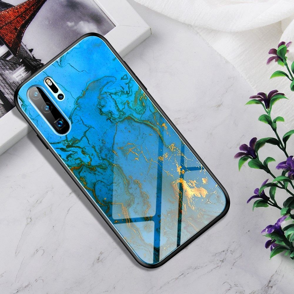 Maska  TPU + glass (Marble light blue) za Huawei P30 Pro
