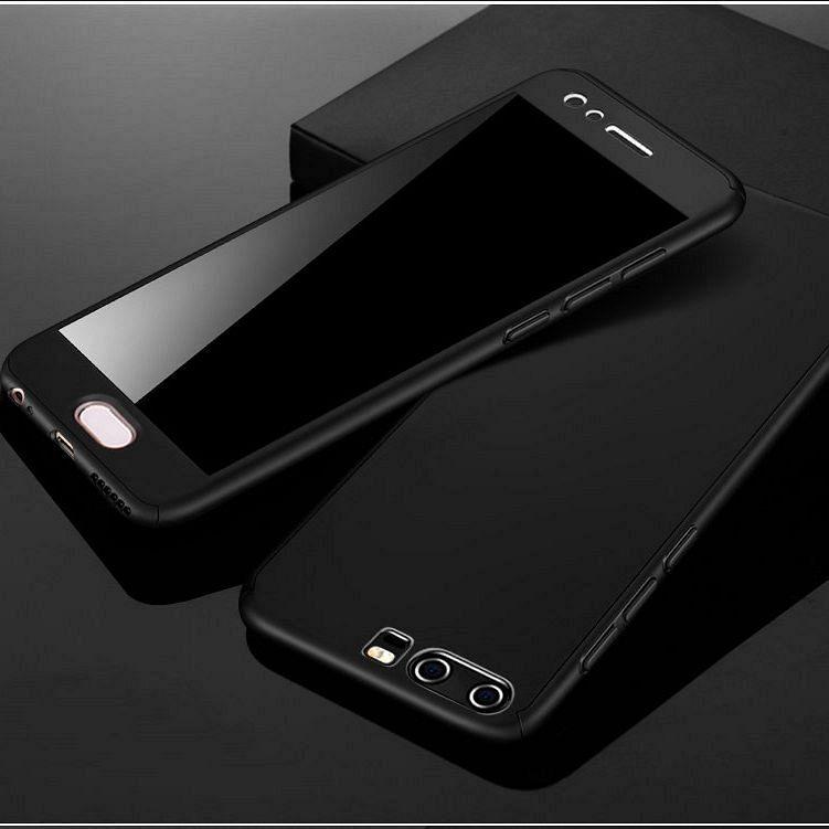 Huawei Y7 2019 360° telefontok + biztonsági védőüveg (black)