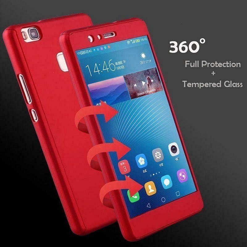 Ovitek 360° (Red) + zaščitno steklo za Huawei P smart 2019