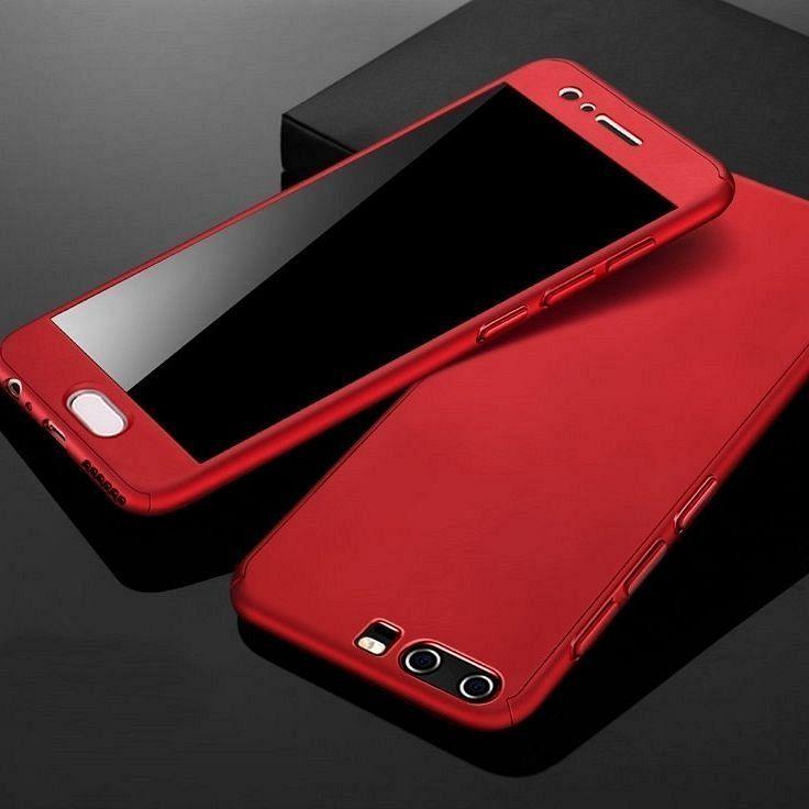 Huawei Y7 2018 360° telefontok + biztonsági védőüveg (red)