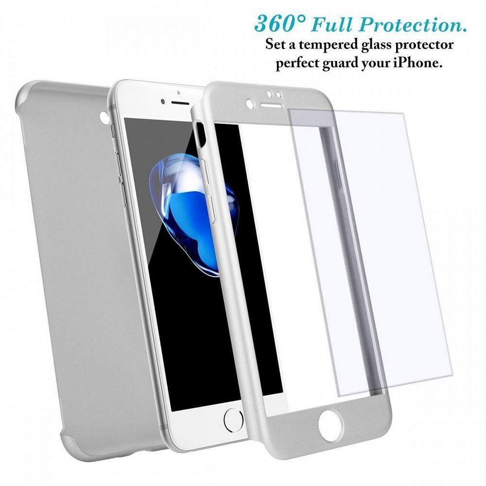 Maska 360° (srebrna) + zaštitno staklo za Apple iPhone 6 Plus/6s Plus