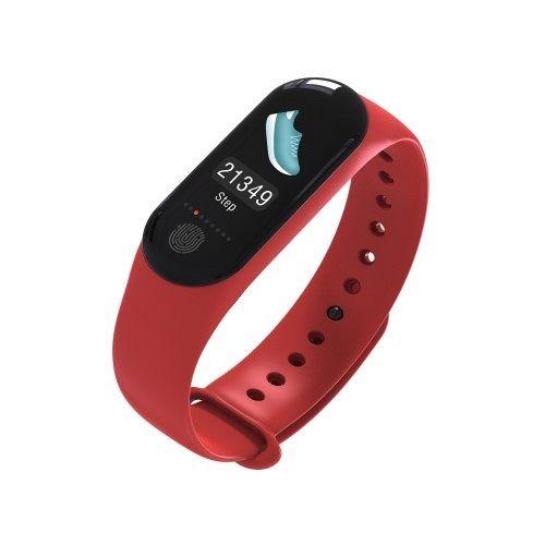 Pametna zapestnica M3 Plus (rdeča) z merilcem krvnega tlaka