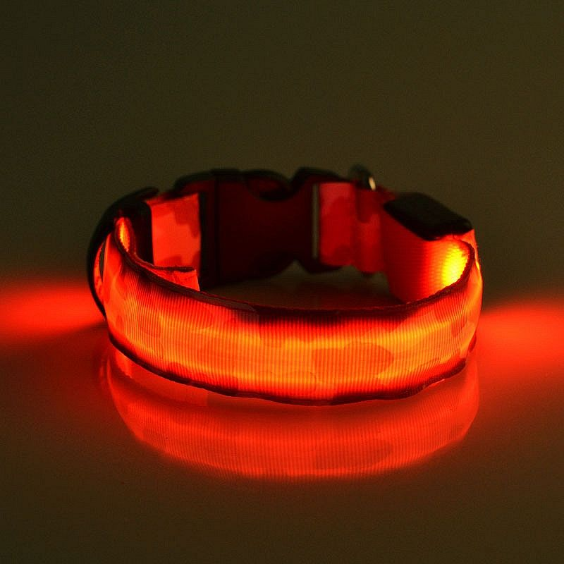 Pametna pasja ovratnica LED (Rdeča) S-Small