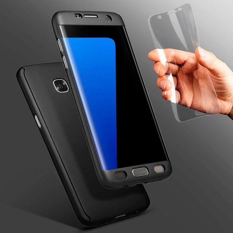 Samsung Galaxy A7 2017 360° telefontok + biztonsági védőüveg (black)