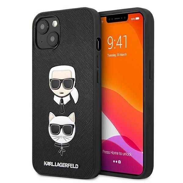 Originalna maska Karl Lagerfeld (black) Karl & Choupette za  iPhone 13 Pro /13