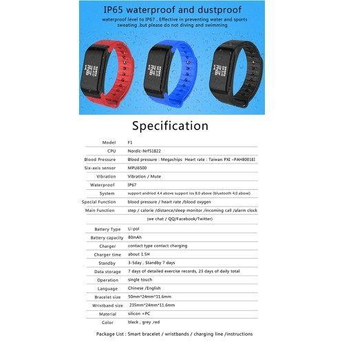 Pametna zapestnica F1 (siva) z merilcem krvnega tlaka