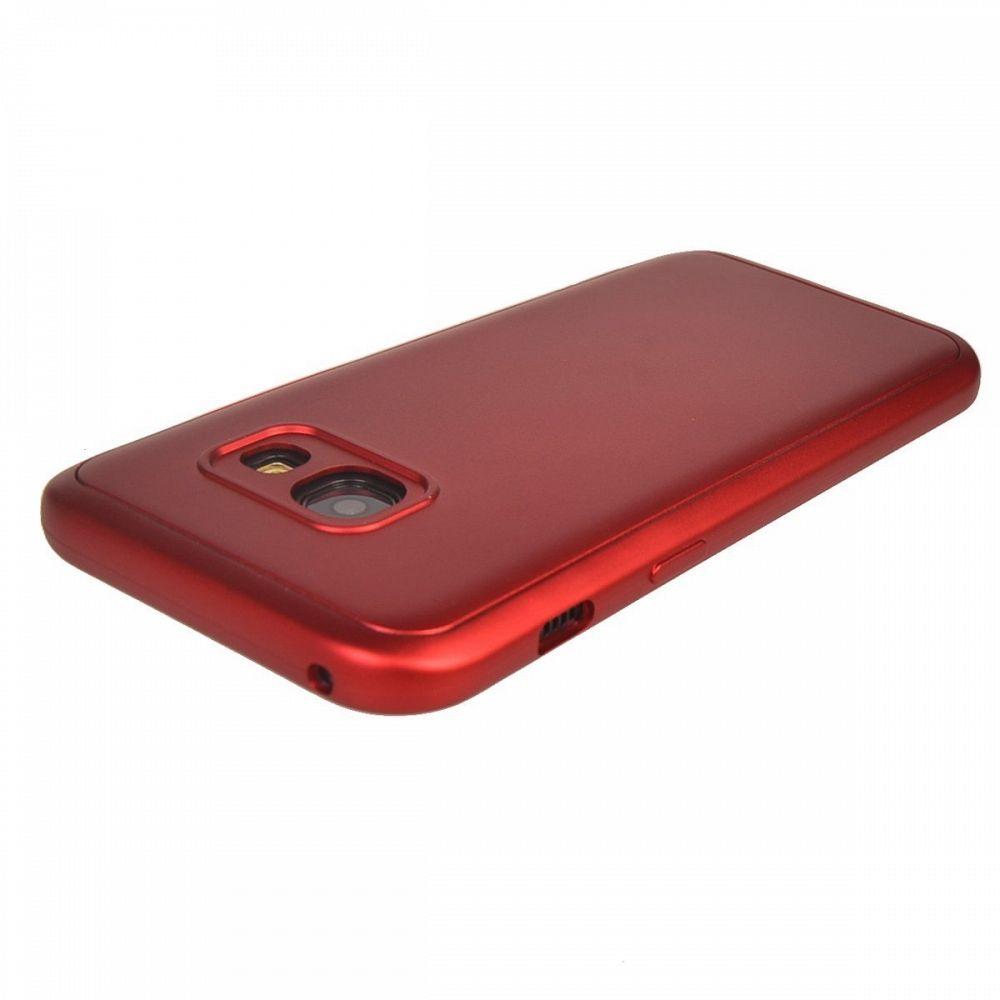Ovitek 360° (rdeč) + zaščitna folija za Samsung Galaxy S7 Edge