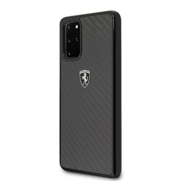 Originalna maska FERRARI (black) Carbon za Samsung Galaxy S20 Plus