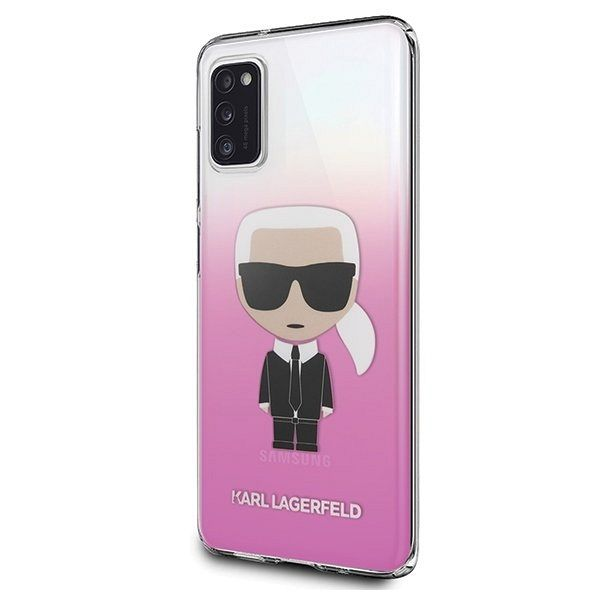 Originalna maska KARL LAGERFELD (pink&white) Icone KL za Samsung Galaxy A41
