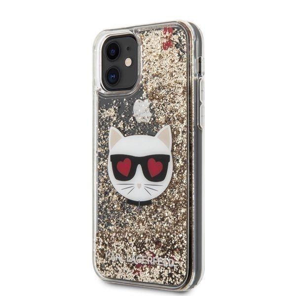 Originalna maska KARL LAGERFELD (transparent) Glitter Choupette za iPhone 11