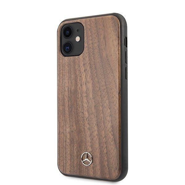 Originalna maska MERCEDES (light brown) Walnut wood lines za iPhone 11