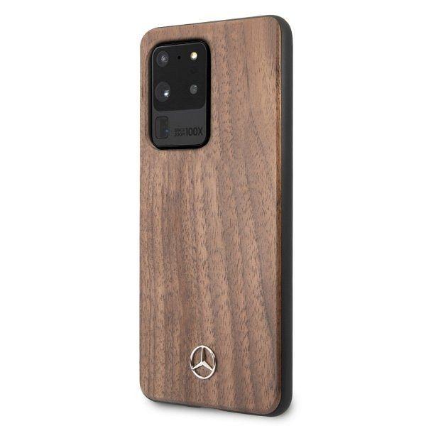 Originalna maska MERCEDES (brown) Wood Line Walnut za Samsung Galaxy S20 Ultra