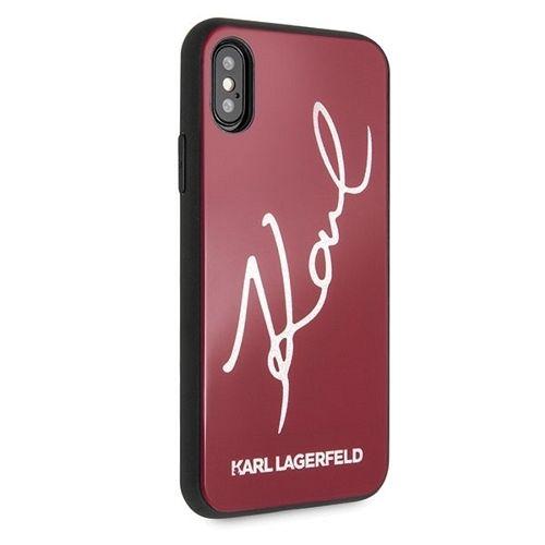 Originalna maska Karl Lagerfeld (Glitter Karl Signature Red) za iPhone X/XS