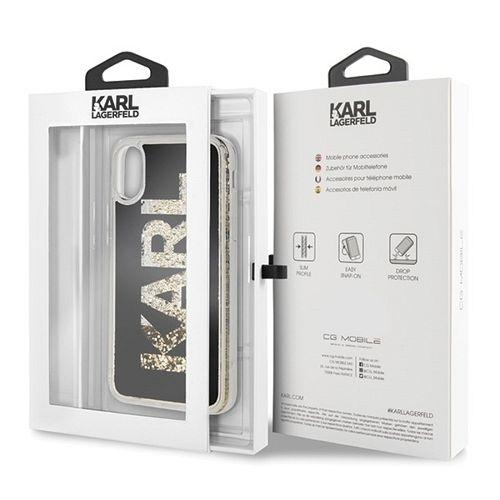 Originalna maska Karl Lagerfeld (Black Glitter) za iPhone X/XS
