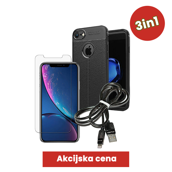 3v1 Paket (Ovitek-Steklo-Kabel) za Apple iPhone 7/8