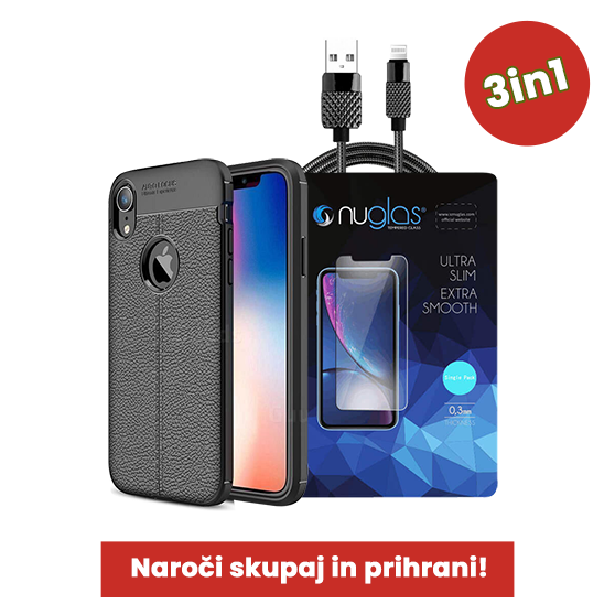 3v1 Paket (Ovitek-Steklo-Kabel) za Apple iPhone XR