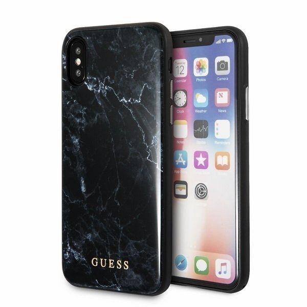 Originalen ovitek Guess (black marble) za iPhone X/XS