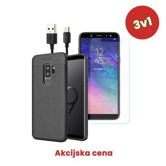 3v1 Paket (Ovitek-Steklo-Kabel) za Galaxy A6 2018