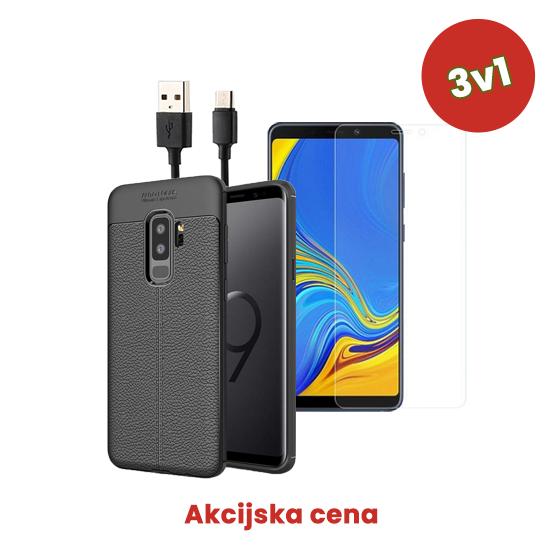 3v1 Paket (Ovitek-Steklo-Kabel) za Galaxy A8 2018