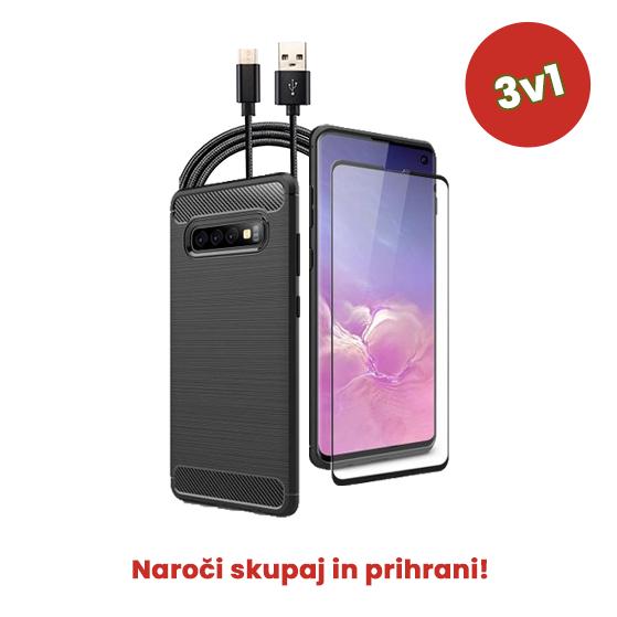 3v1 Paket (Ovitek-Steklo-Kabel) za Galaxy S10