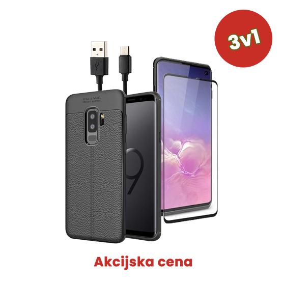 3v1 Paket (Ovitek-Steklo-Kabel) za Galaxy S9 Plus