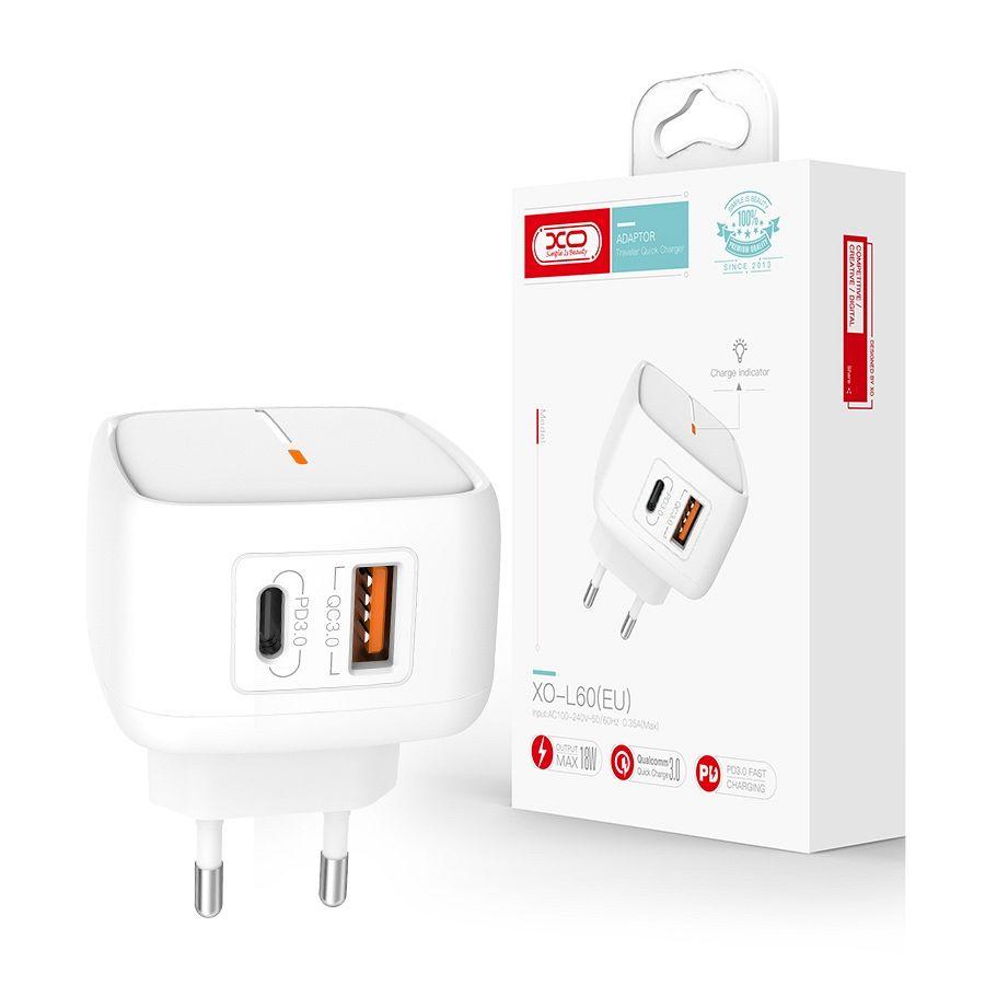 Zidni punjač L60 PD QC 3.0 18W 1X USB 1X USB-C (bijeli)