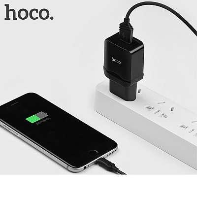 Stenski polnilec Micro USB-HOCO C22A Black