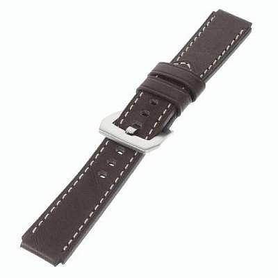 Premium leather pas 22mm - temno rjav