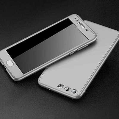 Ovitek 360° (Srebren) + zaščitno steklo za Huawei Y7 2018