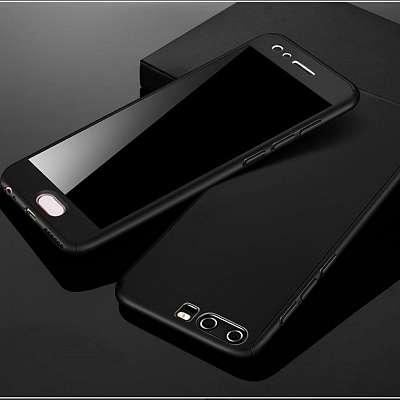 Ovitek 360° (Črn) + zaščitno steklo za Huawei P20 Lite