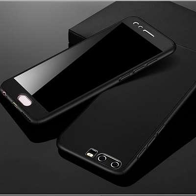 Ovitek 360° (črn) + zaščitno steklo za Huawei P9