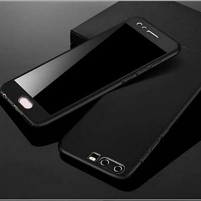 Ovitek 360° (Black) + zaščitno steklo za Huawei Y7 2019