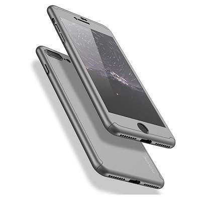 Ovitek 360° (siv) + zaščitno steklo za Apple iPhone 8