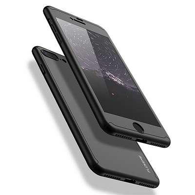 Ovitek 360° (črn) + zaščitno steklo za Apple iPhone 7/8 Plus