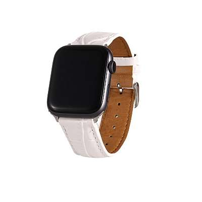 Usnjen pašček (bel) za Apple Watch 4/5/6/SE 44mm / Apple Watch Series 1/2/3 42mm