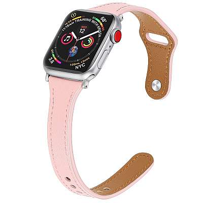Usnjeni pašček (pink) za Apple Watch Serien 6/SE/5/4 40mm / Series 3/2/1 Watch 38mm