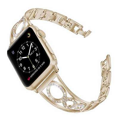 Pas Rhinestone  (zlat) za Apple Watch 4/5/6/SE 44mm / Apple Watch Series 1/2/3 42mm