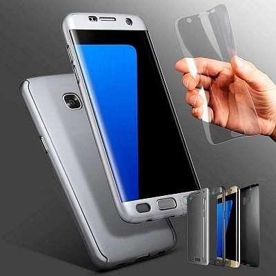 Ovitek 360° (srebrn) + zaščitno steklo za Samsung Galaxy A7 2017