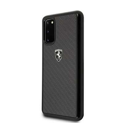 Originalen ovitek FERRARI (black) Carbon type za Samsung Galaxy S20