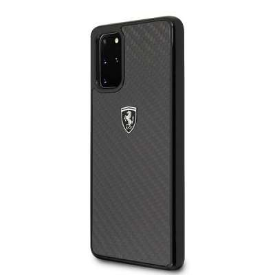 Originalen ovitek FERRARI (black) Carbon za Samsung Galaxy S20 Plus