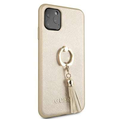 Originalen ovitek GUESS (beige) Ring stand za iPhone 11 Pro Max