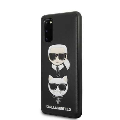 Originalen ovitek KARL LAGERFELD (black) Icone & cat za Samsung Galaxy S20