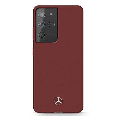 Originalen ovitek MERCEDES (red) Silicone line za Samsung Galaxy S21 Ultra