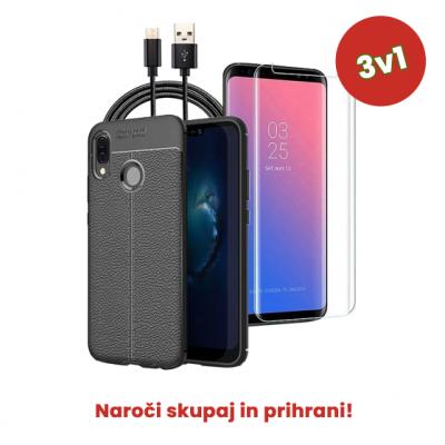 3v1 Paket (Ovitek-Steklo-Kabel) za Huawei P20 Pro