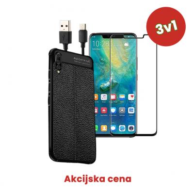 3v1 Paket (Ovitek-Steklo-Kabel) za Huawei Y6 2018