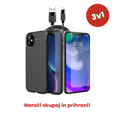3v1 Paket (Ovitek-Steklo-Kabel) za Apple iPhone 11 Pro Max