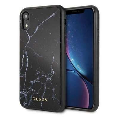 Originalen ovitek Guess (Black marble) za iPhone XR
