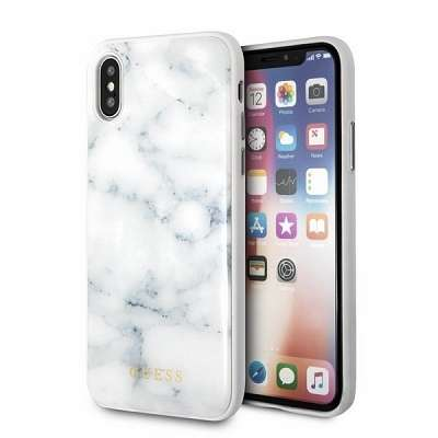 Originalen ovitek Guess (white marble) za iPhone X/XS